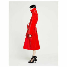 High-collar belted vinyl coat