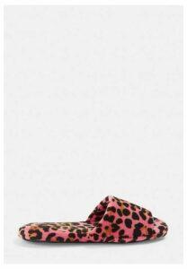 Pink Leopard Print Slider Slippers, Pink