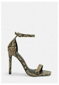 Brown Wide Fit Snake Print Barely There Heels, Brown