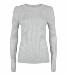 Pale Grey Ribbed Crew Neck Jumper New Look
