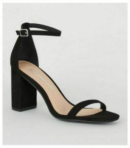 Black Suedette Heeled Sandals New Look