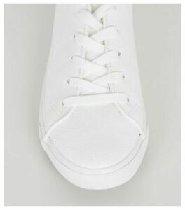 Wide Fit White Leather-Look Lace Up Trainers New Look