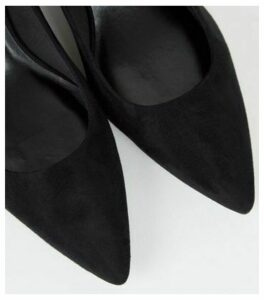 Black Suedette Flared Block Heel Courts New Look Vegan