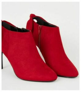 Red Suedette Bow Back Shoe Boots New Look Vegan
