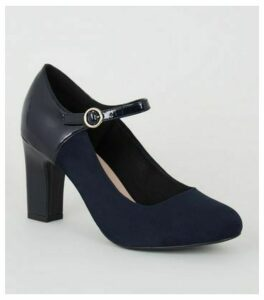 Wide Fit Navy Mixed Mary Jane Court Shoes New Look