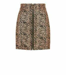 Pink Vanilla Rose Gold Metallic Animal Print Zip Skirt New Look