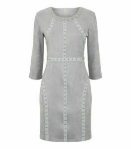 Cameo Rose Pale Grey Suedette Studded Dress New Look