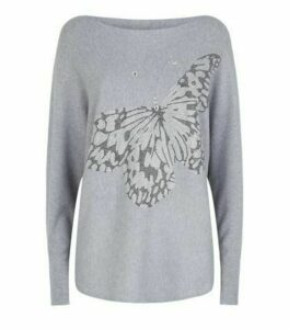 Cameo Rose Grey Diamanté Butterfly Jumper New Look