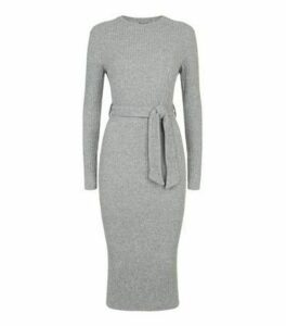 Grey Ribbed Knit Belted Midi Dress New Look