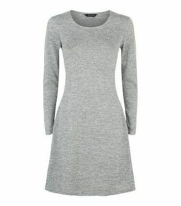 Grey Fine Knit Long Sleeve Swing Dress New Look