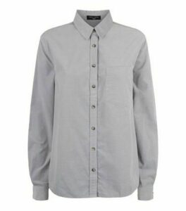 Tall Grey Corduroy Shirt New Look