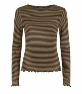 Brown Stripe Long Sleeve Top New Look