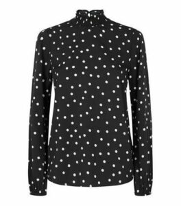 Black Spot Shirred High Neck Blouse New Look