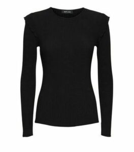 Black Ribbed Frill Long Sleeve Top New Look