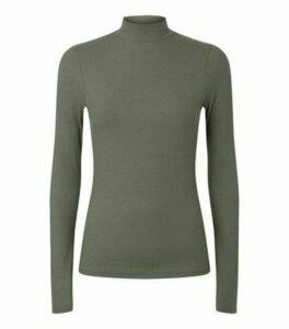 Khaki Ribbed High Neck T-Shirt New Look