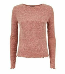 Rust Marl Ribbed Long Sleeve Top New Look