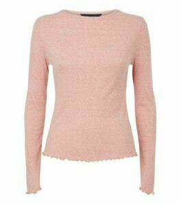 Mid Pink Marl Ribbed Long Sleeve Top New Look