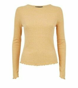 Mustard Marl Ribbed Long Sleeve Top New Look