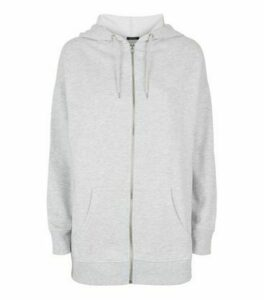 Grey Zip Up Longline Hoodie New Look