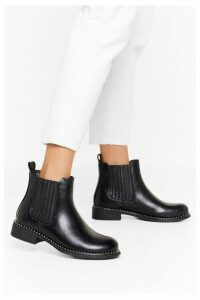Womens What Stud You Do Faux Leather Chelsea Boots - Black - 8, Black