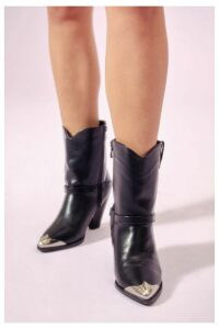 Womens Head To Toe Cap Faux Leather Western Boots - Black - 8, Black