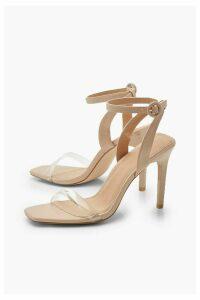 Womens Clear Strap 2 Part Stiletto Heels - Beige - 8, Beige