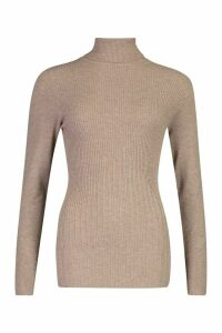 Womens Roll Neck Rib Knot Jumper - brown - M, Brown
