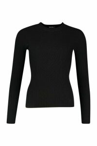 Womens Crew Neck Rib Knitted Jumper - black - M, Black