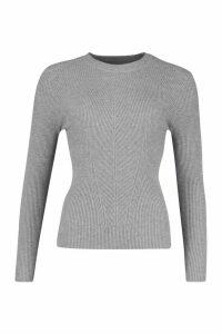 Womens Crew Neck Rib Knitted Jumper - grey - M, Grey