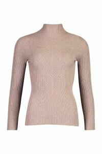 Womens roll/polo neck Rib Knitted Jumper - brown - M, Brown