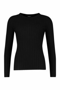 Womens Crew Neck Jumper - black - L, Black