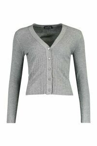 Womens Contrast Rib Button Through Cardigan - grey - M, Grey