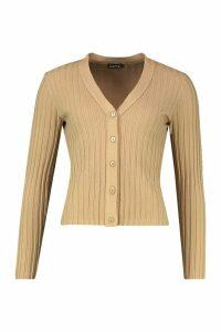 Womens Rib Crop Cardigan - beige - M, Beige