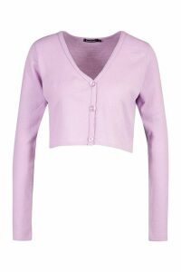 Womens Fine Gauge Button Through Cardigan - purple - M, Purple