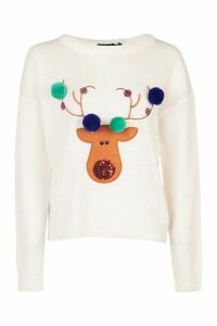 Womens Petite Reindeer Pom Pom Christmas Jumper - white - M, White