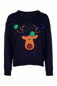 Womens Petite Reindeer Pom Pom Christmas Jumper - navy - M, Navy
