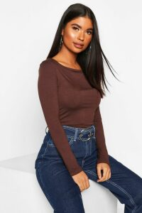 Womens Petite Basic Long Sleeve Top - brown - 10, Brown