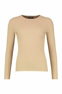 Womens Crew Neck Jumper - beige - L, Beige