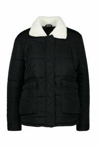 Womens Borg Collar Puffer Jacket - black - 14, Black