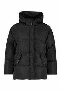 Womens Oversized Hooded Puffer - black - 14, Black