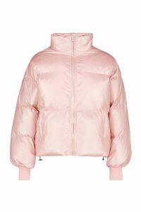 Womens Pearlescent Funnel Neck Puffer - pastel pink - 16, Pastel Pink