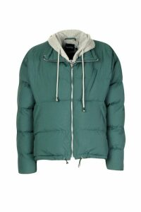 Womens Jersey Hooded Padded Puffer - green - 16, Green