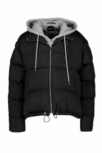 Womens Jersey Hooded Padded Puffer - black - 16, Black