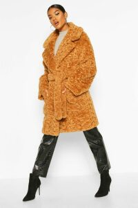 Womens Textured Faux Fur Belted Coat - beige - 12, Beige