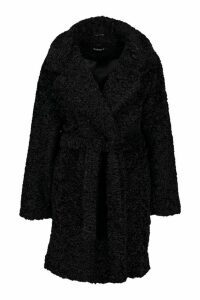 Womens Textured Faux Fur Belted Coat - black - 16, Black