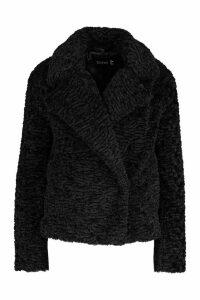 Womens Premium Textured Collared Faux Fur Coat - black - 12, Black