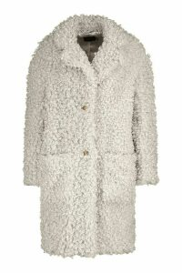 Womens Premium Teddy Faux Fur Longline Coat - white - 16, White