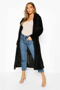 Womens Revere Collar Faux Fur Coat - black - 12, Black