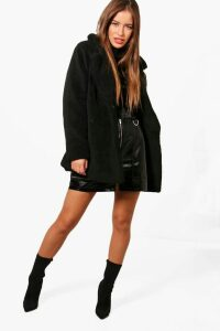 Womens Petite Double Breasted Teddy Coat - black - 10, Black