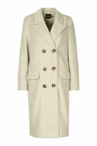 Womens Double Breasted Tonal Check Wool Look Coat - Beige - 8, Beige